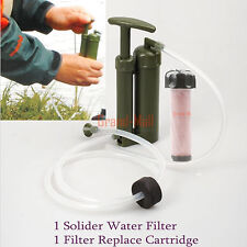 USA Camping Survival Emergency Soldier Water Filter Purifier+1 Replace Cartridge