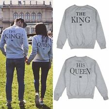 Sweatshirt Couple The King and His Queen Hoodies Print Casual Pullover Valentine