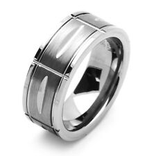 Men 8MM Comfort Fit Tungsten Carbide Wedding Band Grooved Ring / GIFT BOX