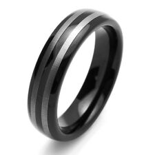 Men 6MM Comfort Fit Tungsten Carbide Wedding Band Domed Two Tone Black Ring
