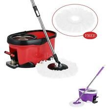 Stainless Steel 360°Rolling Spin Mop & Bucket Set Foot Pedal W/ 2 Mop Heads K8W9