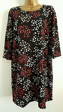 NEW Ex Ev-ns Plus Size 16-32 Floral Printed Black Tunic Top Dress Red White