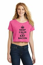 Keep Calm And Eat Bacon Funny Pork Hog Bacon Lover Ladies Crop Top Shirt Z7