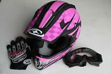 HELMET IMPACT ADULT PINK DIRT BIKE ATV GO KART WITH FREE FREIGHT,GOGGLES,GLOVES