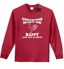 Chickens Make Me Happy Not You Funny L/S T Shirt Farm Chicken Lover Tee Z1