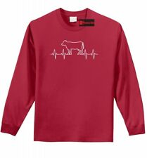 Cow Heartbeat L/S T Shirt Cattle Lover Farm Country Cattle Show Gift Tee Z1