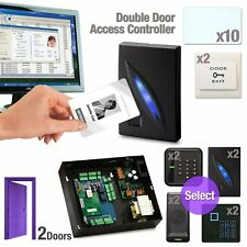 RFID Access Control TCP/IP Password Double Door Board + Exit Button Kit Set