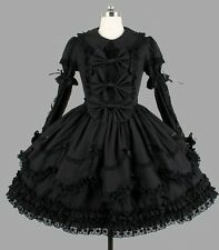 Ladies Black Gothic Custom Made Lace Layered Cosplay Lolita Dress Outfit Costume