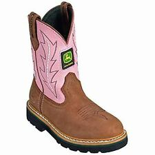 John Deere Children's Wellington Boots Pink/Tan Leather JD2185