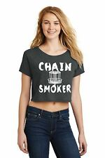 Chain Smoker Funny Disc Golf Frisbee Ladies Crop Top Shirt Sports Beer Gift Z7