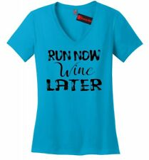 Run Now Wine Later Funny Ladies V-Neck T Shirt Alcohol Workout Marathon Tee Z5