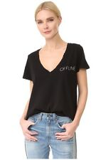 NEW WILDFOX COUTURE OFFLINE RIP VINTAGE BLACK TOP SHIRT TEE XS S M L