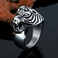 Cool Unique Men's Tiger Head Stainless Steel Silver Biker Ring Size 8-12 Gift