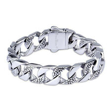 Huge Mens Chain Flat CURB Link Silver Tone 316L Stainless Steel Bracelet 14mm