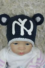 Knit Crochet MLB New York Yankees NY Hat Baby Child Hat Newborn Photo Prop Blue