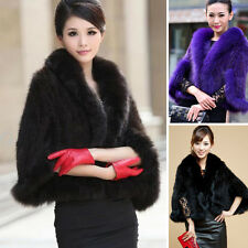 Womens Real Farm Mink Fur Fox Fur Poncho Stole Cape Chic Trendy Scarf Shawl Coat