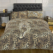 Leopard Print Duvet Cover - Black Chocolate Brown Gold & Yellow Bedding Bed Set