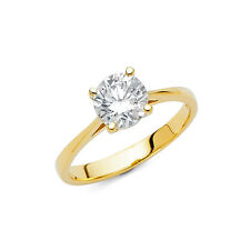 14K Solid Yellow Gold 1.5 ct Round Cut Diamond Solitaire Engagement Ring