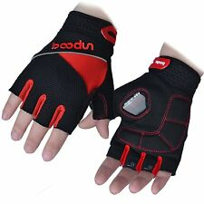 New MTB Road Cycling Bike Bicycle Half Finger Glove Sport Fingerless Gloves Red