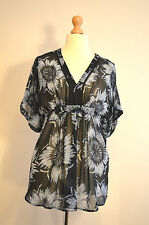MONSOON SEMI SHEER BLACK&WHITE SUMMER HOLIDAY COVER UP TUNIC TOP 14 BNWT RRP£45