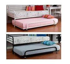 Twin Metal Daybed Trundle Kids Bedroom Bunk Bed Metal Frame Mattress Multi-Color