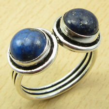 925 Sterling Silver Overlay Natural LAPIS LAZULI Multi Gem NICE Ring Size UK S
