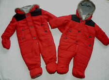 Baby Boys Hooded Quilted Warm Lined Fur Trim Snowsuit/Mittens Booties 3-6 months