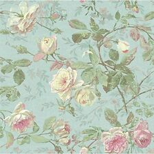 York Wallcoverings SH5501 Vintage Luxe Floral Wallpaper, Pale Blue, Green, Pink,