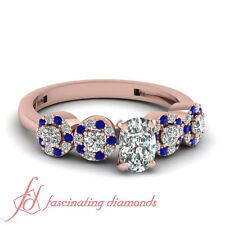 1 Ct Cushion Cut Rose Gold Diamond Pave Engagement Ring With Blue Sapphire GIA
