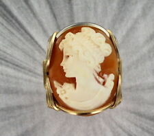 VINTAGE SHELL CAMEO RING ___ 14KT ROLLED GOLD SETTING SIZE 5 TO 13 WIRE WRAPPED