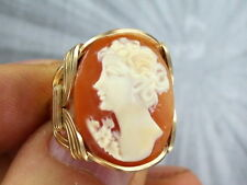 VINTAGE  SHELL CAMEO RING 14KT ROLLED GOLD - SIZE 5 TO 15 WIRE WRAPPED