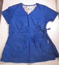 Small Solid Purple KOI Kathy Peterson SCRUB TOP SIZE S Scrubs Shirt Tie Pockets