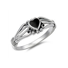Fine Women 7mm 925 Sterling Silver Simulated Black Onyx Heart Promise Ring Band