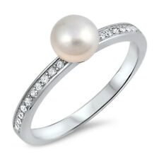 Fine Women 6mm 925 Sterling Silver Freshwater Cultured Pearl CZ Ladies Ring Band