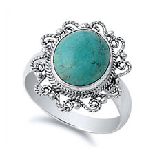 Fine Women 19mm 925 Silver Simulated Turquoise Vintage Style Cocktail Ring Band