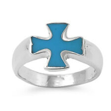 Fine Men Women 14mm 925 Sterling Silver Simulated Turquoise Cross Ring Band