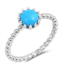 Fine Women 8mm 925 Sterling Silver Simulated Turquoise Stackable Ring Band