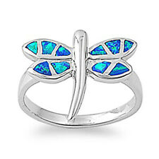 Fine Women 16mm 925 Sterling Silver Simulated Blue Opal Dragonfly Ring Band