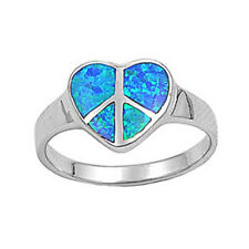 Fine Women 12mm 925 Silver Simulated Blue Opal Heart Peace Sign Ladies Ring Band