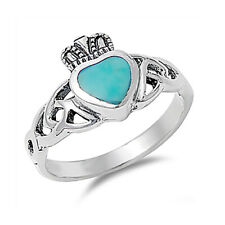 Fine Women 11mm 925 Silver Turquoise Celtic Knot Heart Claddagh Ring Band