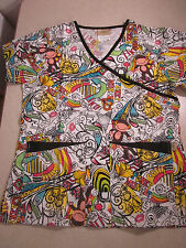 FUNKY MONKEY Tafford SCRUB TOP Scrubs Shirt Size XS Awesome Party Bright Fun