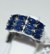 Pure 925 Solid Sterling Silver Genuine Blue Sapphire Ring Size 6.5 (US)