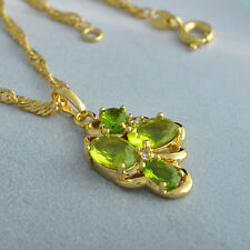 Lovely 9K Gold Filled Flower Crystal Womens Pendant + chain long Free Necklace