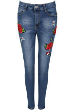 New Womens Ladies Side Floral Embroidered Detail Skinny Jeans Sizes 6-14 UK