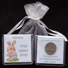 PERSONALISED BABYS FIRST EASTER LUCKY SIXPENCE KEEPSAKE GIFT GIRL BOY 5 DESIGNS
