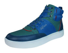 Puma Alexander McQueen Summer Joust Mens Leather Trainers / Hi Tops - Blue Green