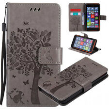Cats and trees Patterned PU Leather Wallet Flip Case Cover For Various Phones #2