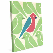 Click Wall Art 'Birds Birds Birds Green' Graphic Art on Wrapped Canvas