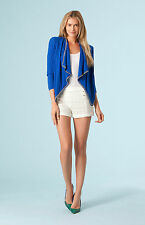 Hale Bob Silk Summer Jacket w Chain Detail White or Blue XS S NWT 3NCN7097