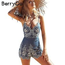 BerryGo Floral Embroidery Jumpsuit Romper Sexy V Neck Summer Beach Playsuit